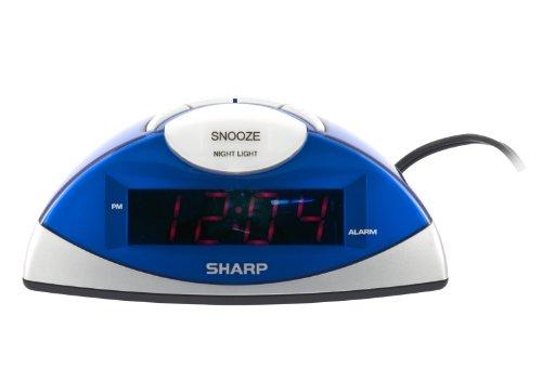 Sharp Spc020Kf Led Alarm Clock (Blue/Silver)