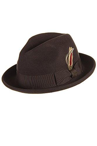 """Avoca Crushable Snap Brim Wool Fedora Hat, Chocolate, Size Large (22.75 - 23.25"""")"""