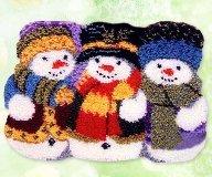 """Latch Hook Rug Kit""""Winter Snowmen"""" 52 x 38cm by XYRK"""