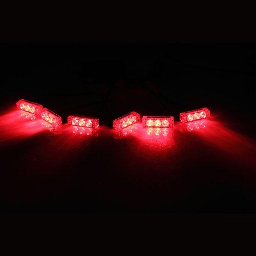 Koolertron 18 Led Emergency Vehicle Strobe Lights For Front Grille/Deck - Red