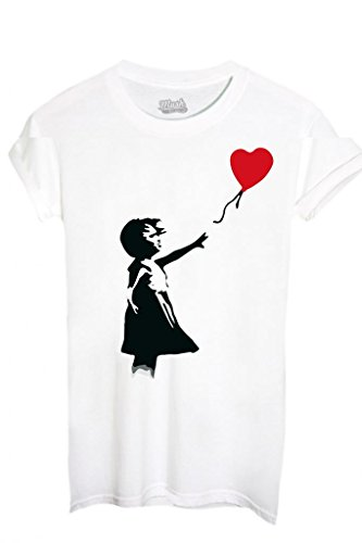 T-SHIRT BANKSY CUORE PALLONCINO - FAMOSI by MUSH Dress Your Style - Donna-S-BIANCA