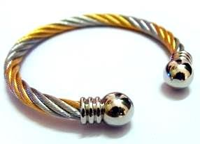 Silver and Gold Stainless Steel Wire Effect Torque Bangle - Adjustable (Suitable for a wrist measuring appx 5.8