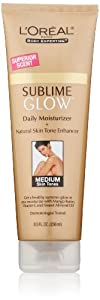 L'Oreal Paris Sublime Glow Daily Body Moisturizer + Natural Skin Tone Enhancer, Medium, 8.0 Ounce