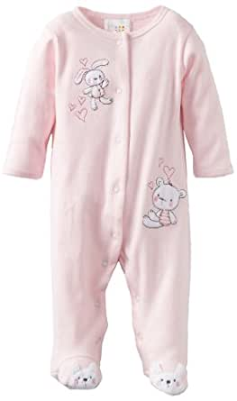ABSORBA Baby-Girls Newborn Cotton Footie, Pink, 3-6 Months