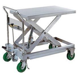 Stainless Steel Mobile Scissor Lift Table 1100 Lb. Capacity