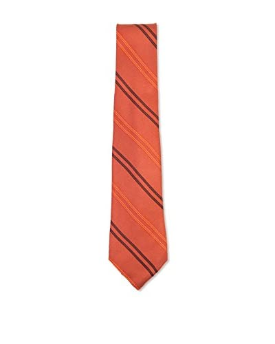 Kiton Men's Diagonal Striped Tie, Rust/Orange/Brown