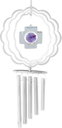 Chrome Plated Wind Chime Sun Catcher or Ornament..... Cross in Scalloped Circlel With Purple Swarovski Austrian Crystal