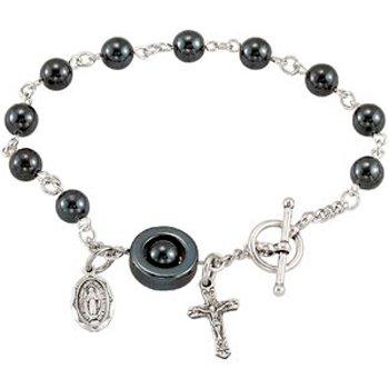 Madonna Deluxe Hematite Rosary Bracelet
