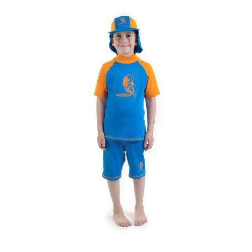 81985ce0b6 The Features Boys size 6 Blue Orange Sun Protective Rashguard shorts Age 6  Years Old -
