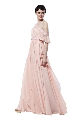 CharliesBridal Light Pink One Shoulder Floor Length Evening Dress - XS - Light Pink