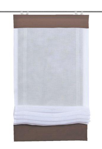 SCHMIDTGARD STOFFE easyFIX - Tenda a pacchetto in voile, con struttura in lino e passamaneria tinta unita 140 x 45 cm Marrone