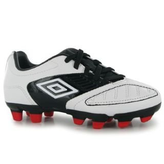 Umbro Geometra Cup FG Childrens Football Boots White/Red 11 Child UK UK