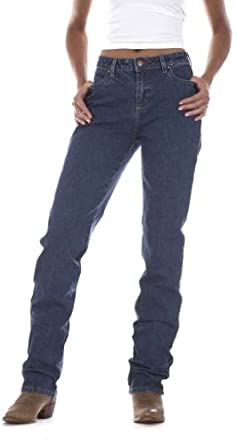 "Wrangler® Women's 34"" Inseam Cowboy Cut Tapered Leg Slim Fit Jeans, STONE WASH, 0"