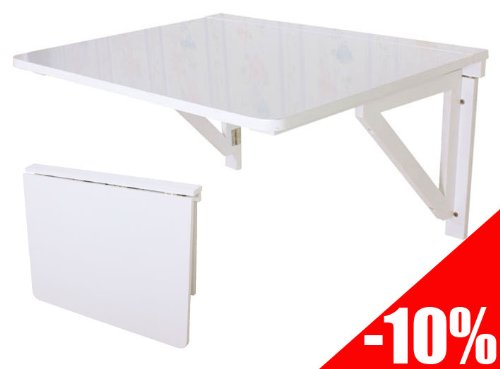 Table de cuisine, Table murale rabattable en bois 75×60cm-Blanc, FWT05-W