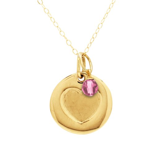Duragold 14k Gold Heart Disc Pendant with October Crystal Birthstone, 18""