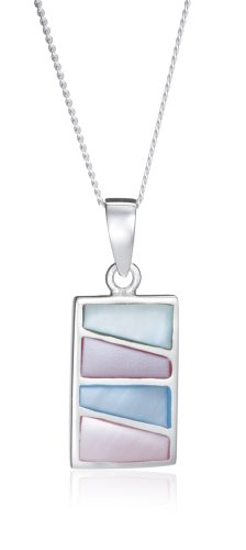 Silver Multi Colour Mother-of-Pearl Rectangle Pendant on adjustable curb Chain