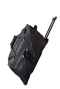 18 Cabin Approved Wheeled Trolley Holdall Travel Weekend Luggage Carry On Flight Bag 27 Black