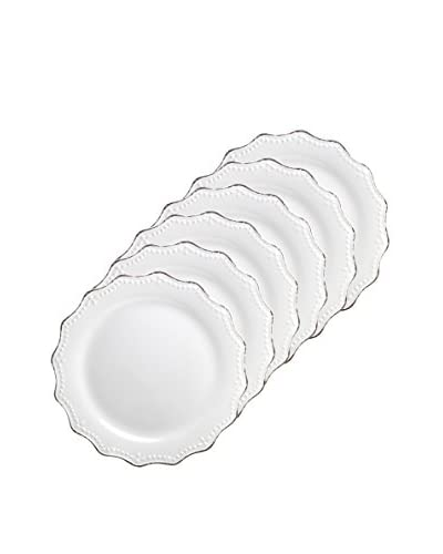 10 Strawberry Street Set of 6 Oxford 8.3 Salad Plates, White