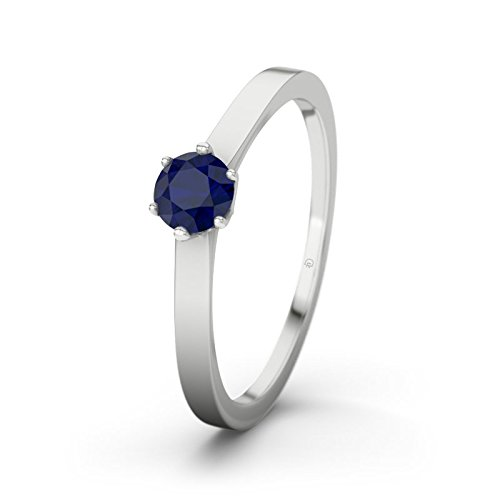21DIAMONDS Women's Ring Pure Brilliant Cut Blue Sapphire Color Engagement Ring - Silver Engagement Ring