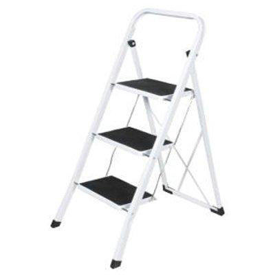 Harewood 3 Stufen Leiter - Faltbar Metall Leiter Mit Gummi Antirutsch Beschichtung Matte