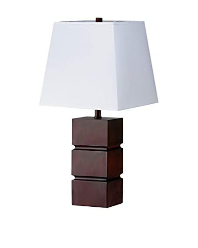 ORE International Cube Table Lamp, Walnut Finish As You See