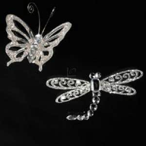 "5"" ACRYLIC SILVER GLITTER BUTTERFLY AND DRAGONFLY ORNAMENT WITH METAL CLIP. - Christmas Ornament"