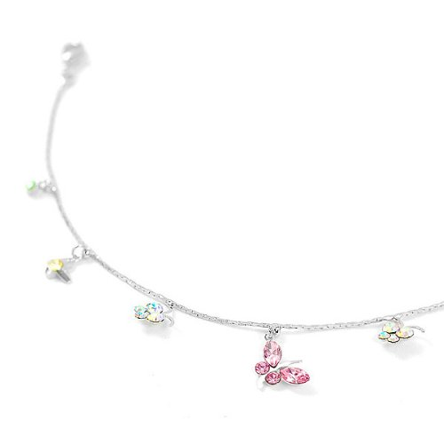 Perfect Gift - High Quality Butterfly Anklet with Multi-color Swarovski Crystal and CZ - 24.5cm (1823) for Birthday Anniversary Free Standard Shipment Clearance