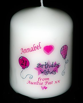 Personalised Birthday Candle Card Pink Gift
