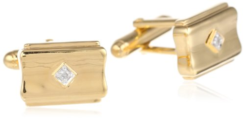 Men'S 18K Yellow Gold Plated Sterling Silver Concave Diamond Cuff Links (1/20 Cttw, I-J Color,I2-I3 Clarity)