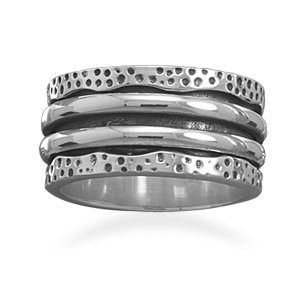 Sterling Silver Oxidized Spin Ring / Size 9