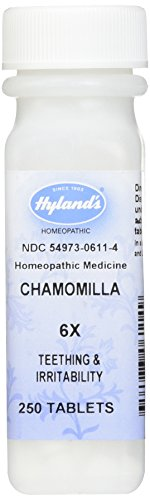 Hyland's Chamomilla 6X Tablets, Natural Homeopathic Teething & Irritability Relief, 250 Count