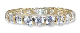 14k Yellow Gold, Eternity Set Band Ring with Brilliant Lab Created Gems