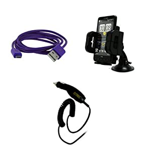 EMPIRE RIM BlackBerry Curve 9310 3 1/2' USB Data Cable (Purple) + Car Dashboard Mount + Car Charger [EMPIRE Packaging]
