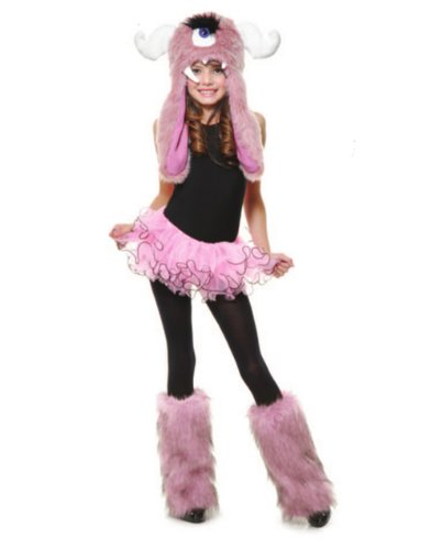 Child Girls Pink White Anime Cartoon Monster Furry Leg Warmers