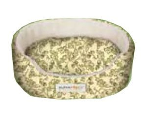 Alpha Pooch Dreamer Oval Bolster Green Leaf-Natural Fleece- DRM-1722-Y-U8X6