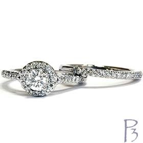 .75CT Diamond Engagement 14K White Gold Matching Wedding Ring Band Set Halo Vintage Like Style Size 6