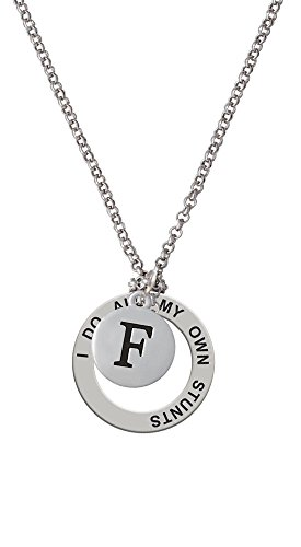 Capital Letter - F - Pebble Disc - Stunts Affirmation Necklace