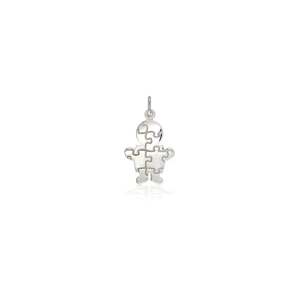 Small Size Autism Awareness Puzzle Boy Jewelry Charm in 14K yellow gold