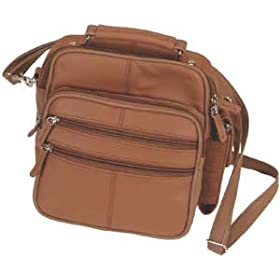 Roma Genuine Leather Brown Organizer Bag Handbag Purse