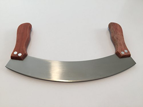 """Mezzaluna Knife by CuisinChef a Double Handle Herb or Pizza Rocker Knife with 10"""" Cutter Blade and Wooden Handles."""