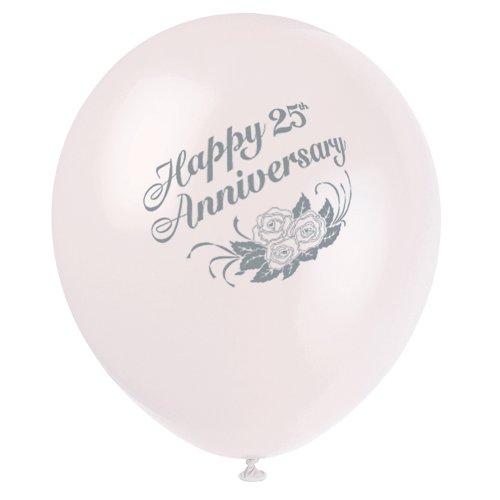 """12"""" White Latex 25th Anniversary Balloons, 6ct - 1"""