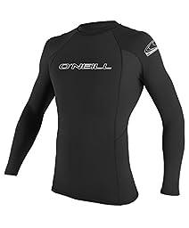 O\'Neill Wetsuits UV Sun Protection Mens Basic Skins Long Sleeve Crew Sun Shirt Rash Guard, Black, X-Large