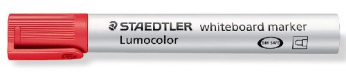 STAEDTLER ルモカラー ドライセーフ ホワイトボードマーカー 中字丸芯 レッド 10本 351-2