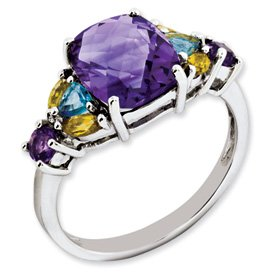 Genuine IceCarats Designer Jewelry Gift Sterling Silver Amethyst, Bluetopaz & Citrine Ring Size 6.00