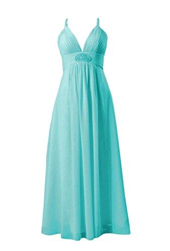 Daisyformals Long V-Neck Chiffon Bridesmaid Dress(Bm350)- Tiffany Blue
