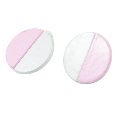Rosallini Pair White Pink Metal Round Shaped Clip Earrings for Ladies