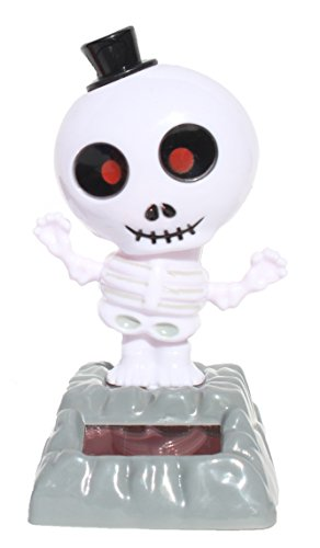 Scary Red Eye Skeleton in Black Hat - 2014 New Version Halloween Solar Toy