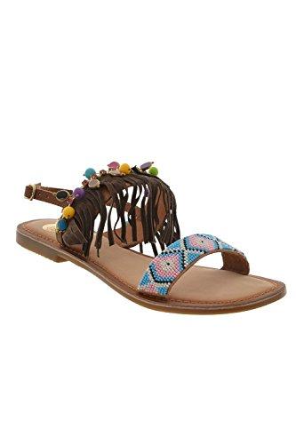 Gioseppo Cheyenne Tan sandali bassi marroni con frangie e perline multicolor n° 39