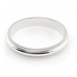 14K White Gold Men's & Women's Wedding Bands 2.5mm Milgrain, 10.75