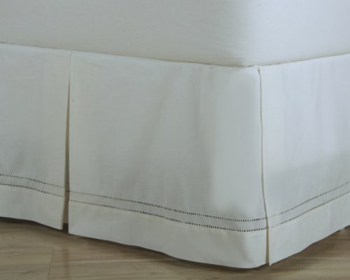 D. Kwitman And Son Hemstitch Box Pleat Bed Ruffle, 14-Inch, Full, Natural